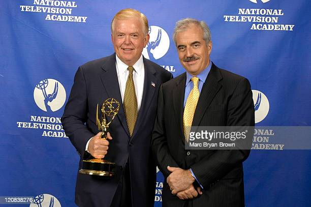 CNN Anchor Lou Dobbs and Past President of CBS News Andrew Heyward at the 2005 Business and Financial Reporting Emmy Award Ceremony