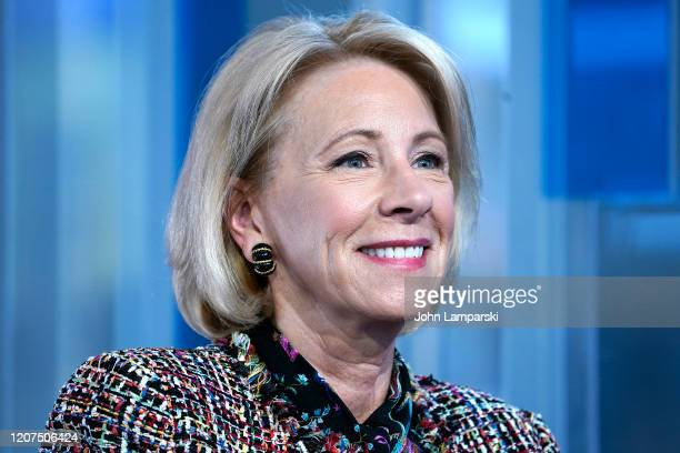 Anchor Maria Bartiromo interviews Education Secretary Betsy Devos during Mornings With Maria at Fox Business Network Studios on February 20 2020 in...