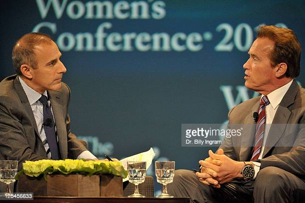 Anchor Matt Lauer and Governor Arnold Schwarzenegger speak on day 3 of Maria Shriver's Women's Conference 2010 at the Long Beach Convention Center on...