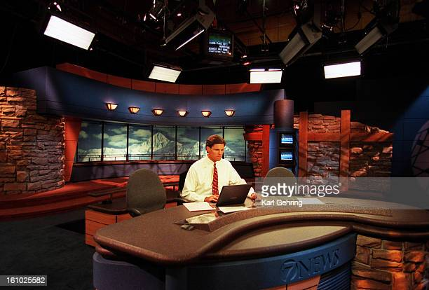 Anchor Mitch Jelniker prepared for a recent 500 newscast on the new set The set features faux brickwork and a background photograph of Mt Wilson