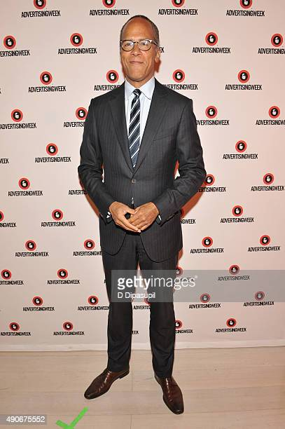 Anchor NBC Nightly News and Dateline Lester Holt poses at the Road to the 2016 Election A Campaign Preview panel during Advertising Week 2015 AWXII...