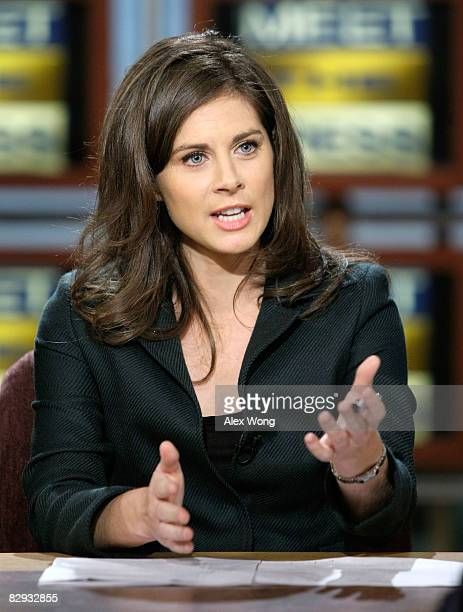 """Anchor of CNBC's """"Street Signs"""" Erin Burnett speaks during a taping of Meet the Press at the NBC studios September 21, 2008 in Washington, DC...."""