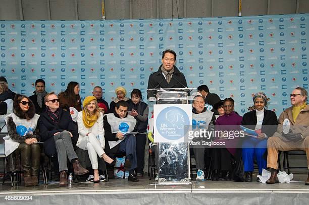 Anchor Richard Liu attends the 2015 International Women's Day March at Dag Hammarskjold Plaza on March 8 2015 in New York City