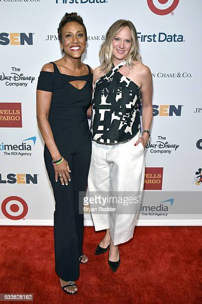 Anchor Robin Roberts and Amber Laign arrive at the GLSEN Respect Awards at Cipriani 42nd Street on May 23 2016 in New York City