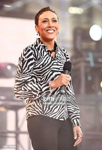Anchor Robin Roberts hosts ABC's Good Morning America on May 30 2008 at Bryant Park in New York City