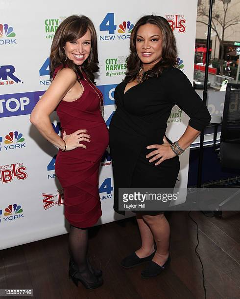 Anchor Sara Gore and radio personality Egypt Sherrod bump baby bumps at the 2nd annual Nonstop Day of Giving telethon at the NBC Experience Store on...