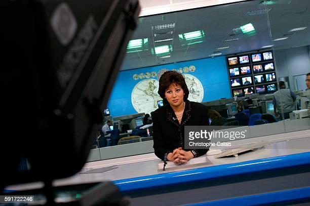 Anchor woman Khadija Bengana presenting the news on the Al Jazeera satellite channel
