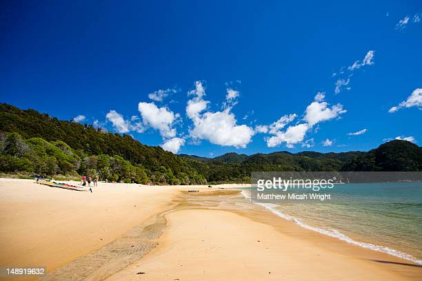 Anchorage is a stunning beach in the middle of the Abel Tasman National Park. The long horseshoe stretch of beach makes it an ideal spot to stop for lunch and a swim