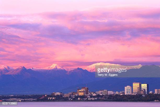 Anchorage Skyline at Foot of Snowy Mountains