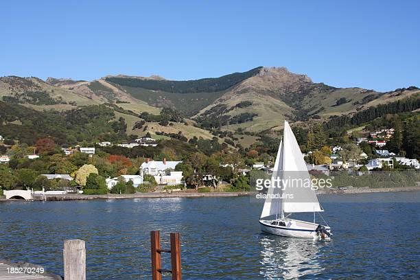 Anchored sailing boat