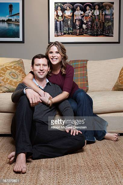 TV anchor/former first daughter Jenna Bush Hager and husband Henry Hager are photographed for People Magazine on December 24 2012 in New York City...