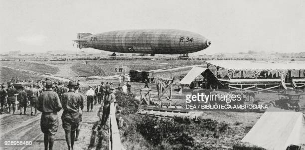 Anchoring of the British airship R 34 the first airship that accomplished a transatlantic journey former airport Roosevelt Field Mineola Long Island...