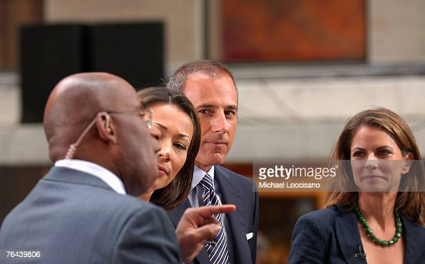 Anchors Al Roker Anne Curry Matt Lauer and Natalie Morales talk after Chris Brown's performance on NBC's 'Today Show' Summer Concert Series in New...