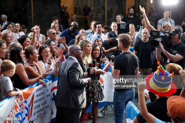 NBC anchors Al Roker Jenna Bush Hager and Sheinelle Jones speak with Dierks Bentley on NBC's Today at Rockefeller Plaza on August 01 2019 in New York...
