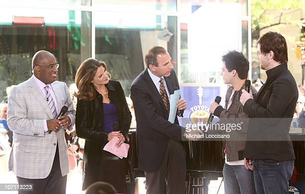 Anchors Al Roker Natalie Morales and Matt Lauer talk with American Idol 2008 runnerup David Archuleta and American Idol 2008 winner David Cook after...