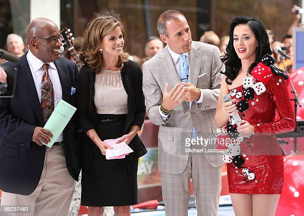 Anchors Al Roker Natalie Morales and Matt Lauer talk with singer Katy Perry after Perry's performance on NBC's 'Today' at Rockefeller Center on July...