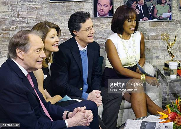 MORNING anchors Charlie RoseNorah O'Donnell and Gayle King right talk with Late Show host Stephen Colbert in the CBS This Morning green room on...