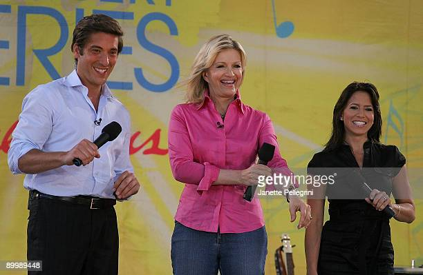 Anchors David Muir Diane Sawyer and Marysol Castro host ABC's 'Good Morning America' at Rumsey Playfield Central Park on August 21 2009 in New York...