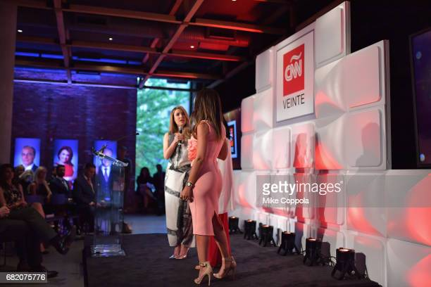 CNNE Anchors Elizabeth Perez Alejandra Oraa and Mariela Encarnacion speak onstage during the 2017 CNNE Upfront on May 11 2017 in New York City...