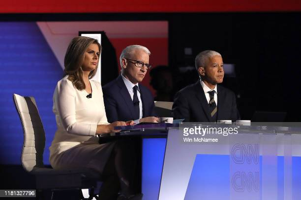 Anchors Erin Burnett and Anderson Cooper and New York Times National Editor Marc Lacey moderate the Democratic Presidential Debate at Otterbein...