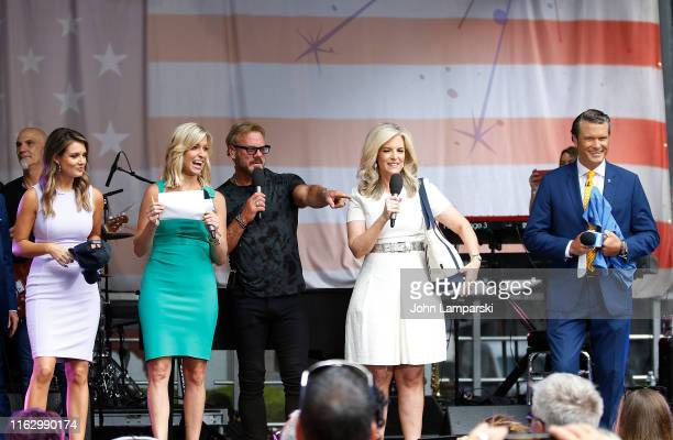 FOX anchors Jillian Mele Ainsley Earhardt Pete Hegseth and meteorologist Janice Dean join Phil Vassar as performs on FOX Friends AllAmerican Summer...