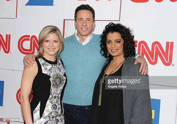 CNN anchors Kate Bolduan Chris Cuomo and Michaela Pereira attend the CNN Worldwide AllStar 2014 Winter TCA Party at Langham Hotel on January 10 2014...