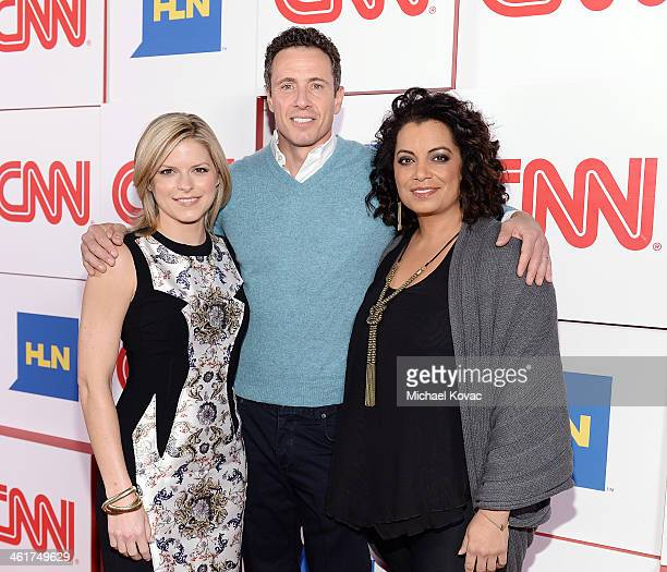 CNN anchors Kate Bolduan Chris Cuomo Michaela Pereira attend the CNN Worldwide AllStar Party At TCA at Langham Hotel on January 10 2014 in Pasadena...