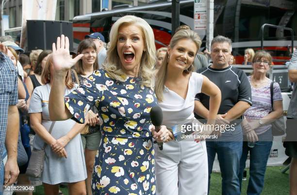 FOX anchors Liz Calman and Jillian Mele attend the Scotty McCreery concert as he performs on Fox Friends on August 17 2018 in New York City