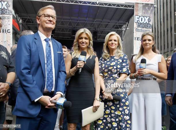 FOX anchors Steve Doocy Ainsley Earhardt Liz Claman and Jillian Mele attend the Scotty McCreery concert as he performs on Fox Friends on August 17...