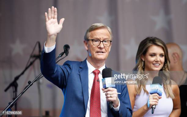 FOX anchors Steve Doocy and Jillian Mele are on stage as Phil Vassar performs on FOX Friends AllAmerican Summer Concert Series on July 19 2019 in New...