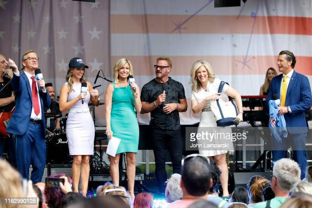 FOX anchors Steve Doocy Jillian Mele Ainsley Earhardt Pete Hegseth and meteorologist Janice Dean join Phil Vassar as performs on FOX Friends...
