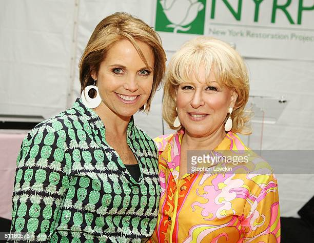 CBS anchorwoman Katie Couric and singer/actress Bette Midler attend the seventh annual Restoration Project Flower Power Spring Gala in Tompkins...