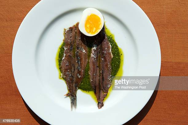 Anchovies in green sauce at Etto Wednesday May 22 2013 in Washington DC