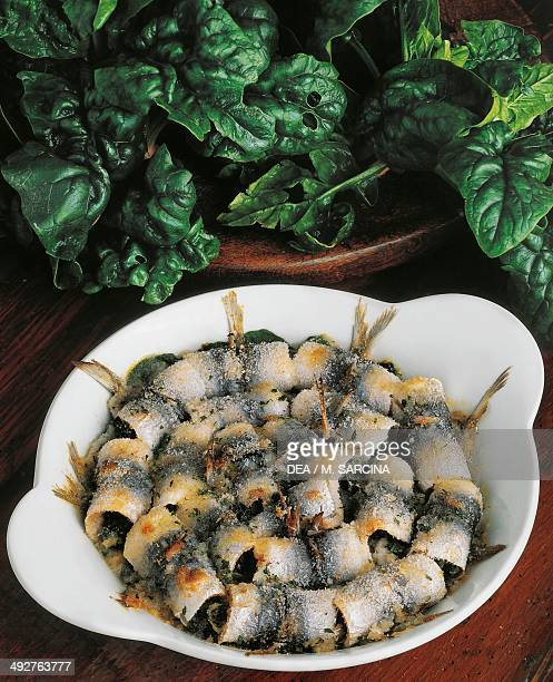 Anchovy stuffed with spinach