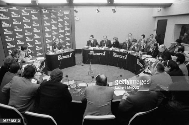 L'ancien secrétaire d'Etat américain Henry Kissinger invité du Club de la Presse d'Europe 1 le 31 janvier 1980 à Paris France