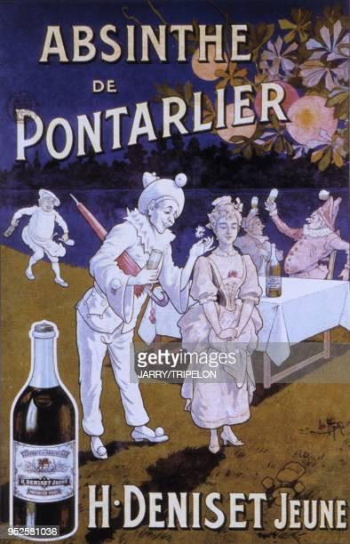 ancienne affiche musee de l absinthe Pontarlier departement Doubs region Franche Comte France old poster absinth museum Pontarlier Doubs Franche...