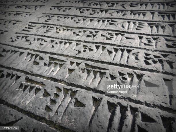 ancient achaemenid cuneiform script carved on stone - tehran, iran - replica - ペルシア文化 ストックフォトと画像