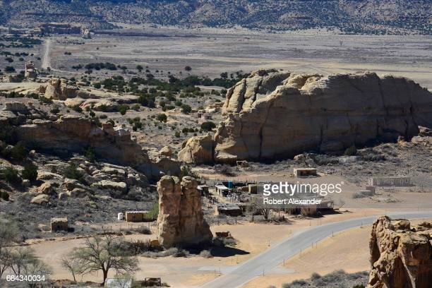 Ancient adobe and rock homes can be seen from the mesa at Sky City one of three Native American villages which make up Acoma Pueblo west of...