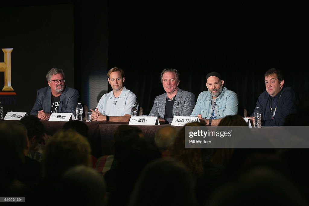 Ancient Aliens Producers and TV personalities speak during the Ancient Aliens: Alien Technology panel during Alien Con at the Santa Clara Convention Center on October 29, 2016 in Santa Clara, California.