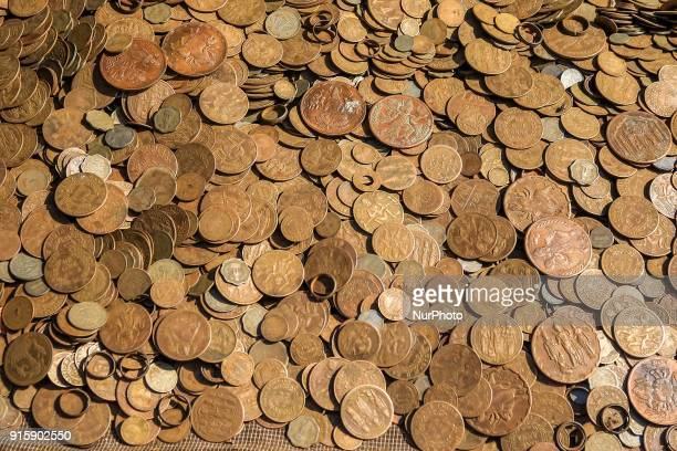 Ancient amp old currency coin sale at street market in Haridwar Uttrakhand India on 8th Feb 2018 Haridwar is a major attraction for the pilgrims...