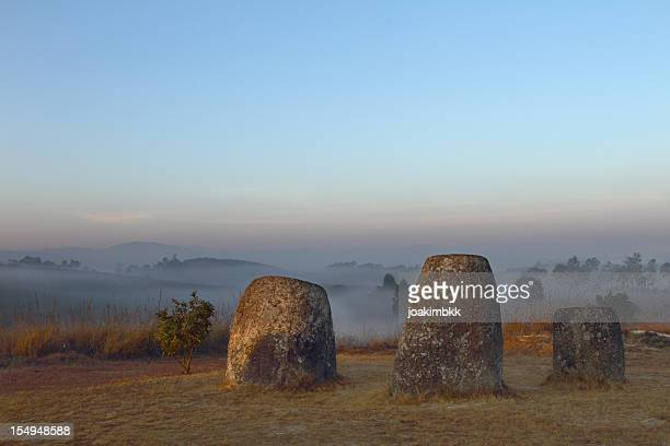 ancient and famous plain of jars in laos - laos stock pictures, royalty-free photos & images