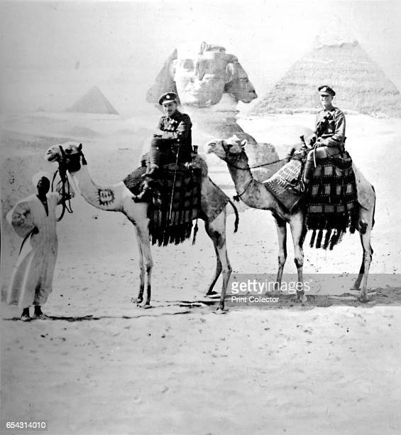 Ancient and Modern 1919 Military figures in front of the Sphinx and Great Pyramid of Giza From The British Printer Vol XXXI [Raithby Lawrence Co Ltd...