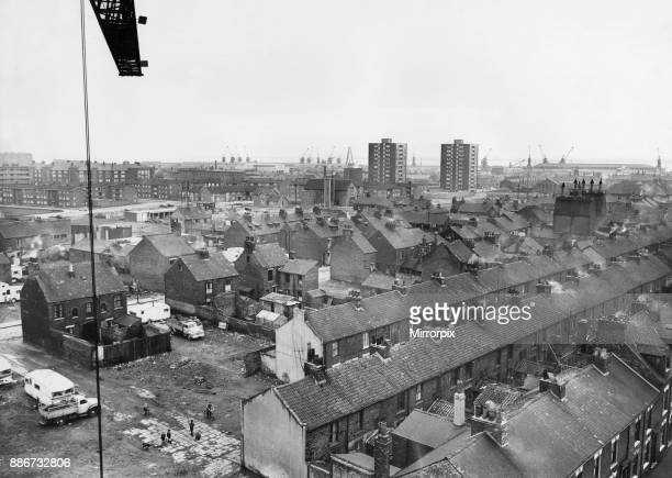 Ancient and Modern A tall crane vantage point high above the new flats being built on Anlaby Road Hull gives this view of dwellings ancient and...