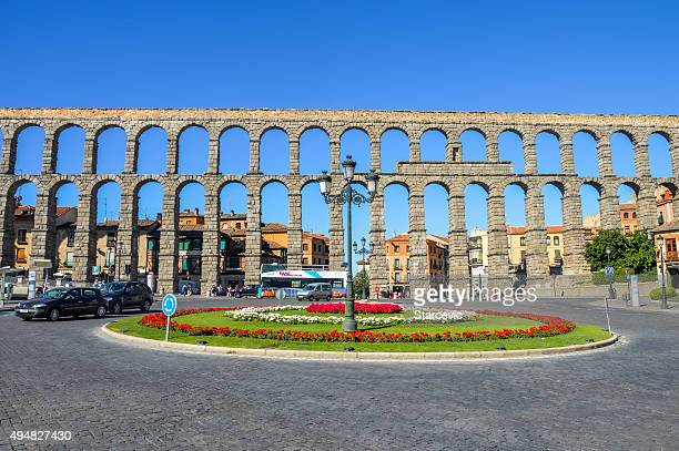 ancient aquaduct in segovia, spain - segovia stock photos and pictures