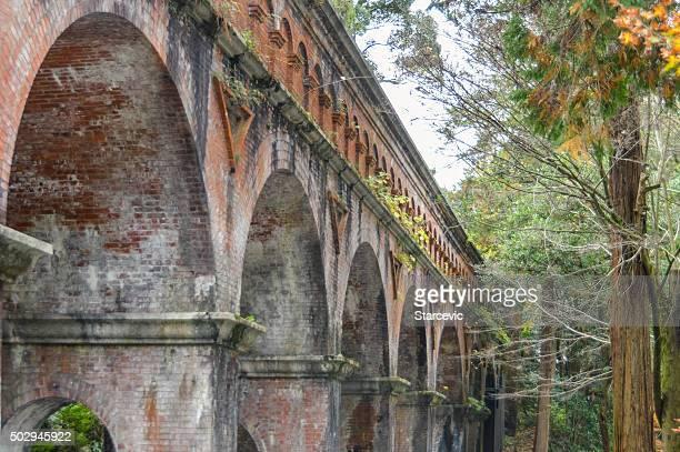 Ancient aqueduct  at Eikando Temple in Kyoto, Japan