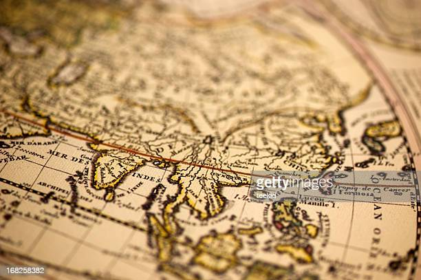 ancient asia world map - vintage world map stock photos and pictures