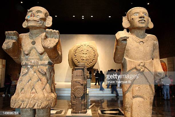 ancient aztec statues at national museum of anthropology. - ancient civilisation stock pictures, royalty-free photos & images