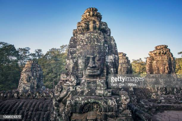 ancient bayon temple, siem reap, cambodia - angkor stock photos and pictures