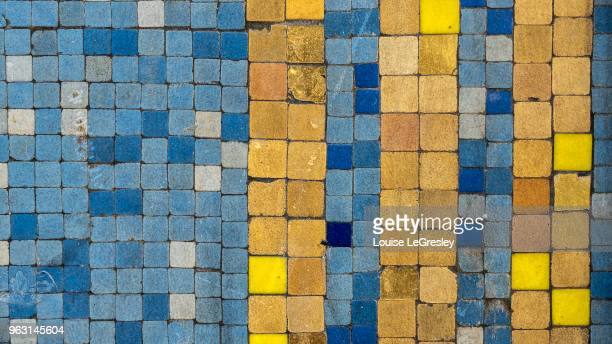ancient blue and yellow mosaic tiles - mosaic stock pictures, royalty-free photos & images