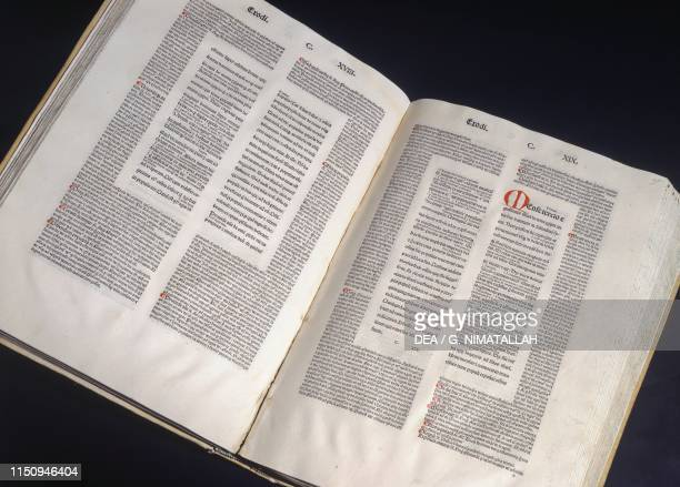 Ancient book containing Exodus and its commentary kept at the library of the Abbey of Saint Scholastica Subiaco Lazio Italy
